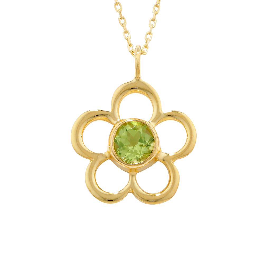 Peridot birthstone flower pendant yellow gold
