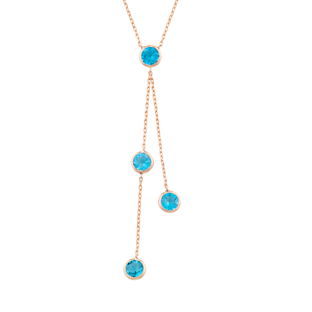 Handmade Rose Gold Blue Topaz Raindrop Pendant Necklace