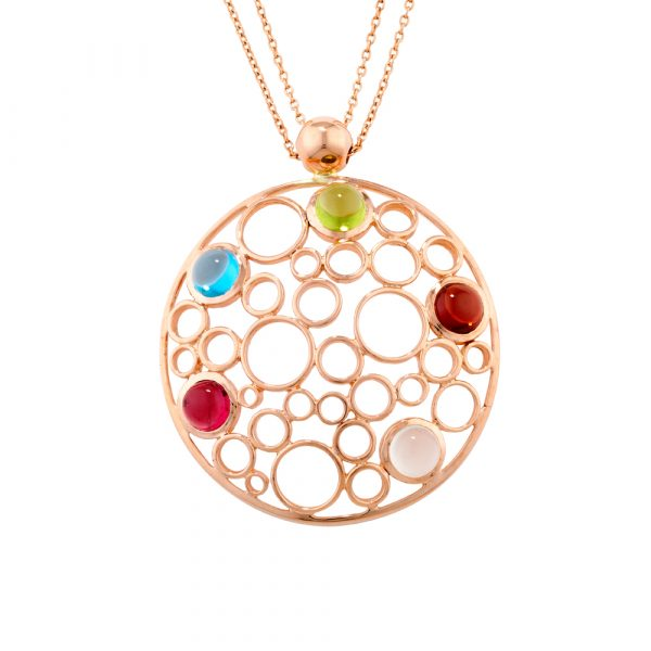 Gemstone bubble pendant rose gold
