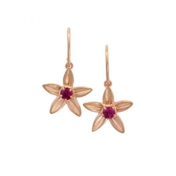 Ruby starflower drop earrings rose gold