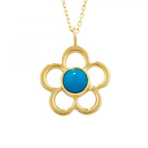 Turquoise birthstone flower pendant yellow gold