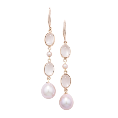 Rose quartz and pearl drop earrings rose gold