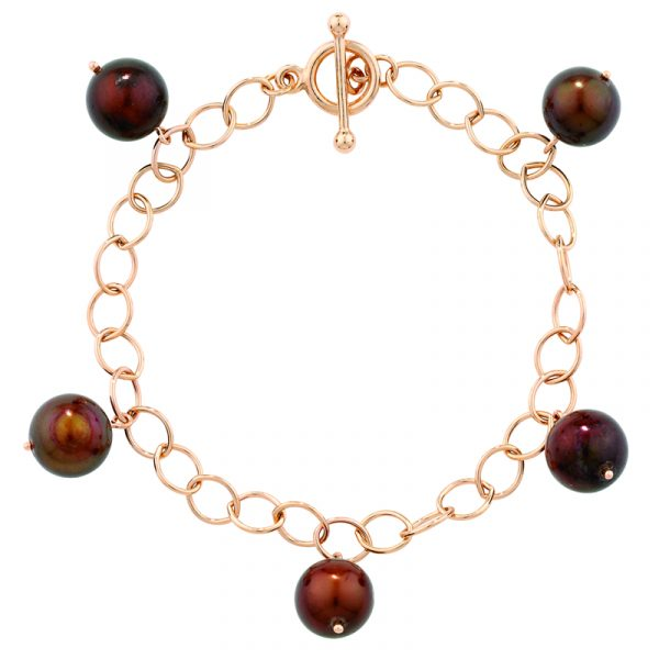 Bronze cultured freshwater pearl bracelet rose gold