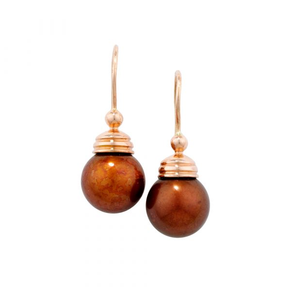 Bronze cultured freshwater pearl drop earrings rose gold