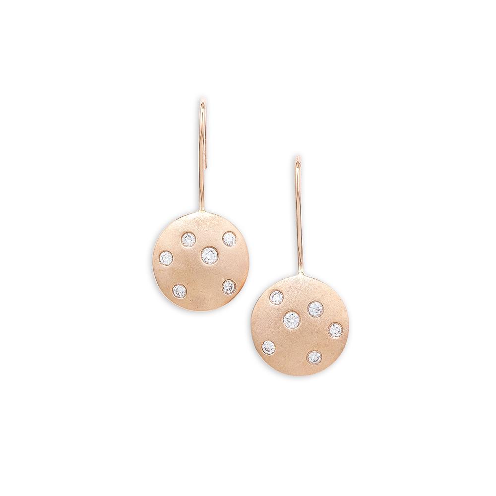 Luxury Diamond Rose Gold Disc Drop Earrings