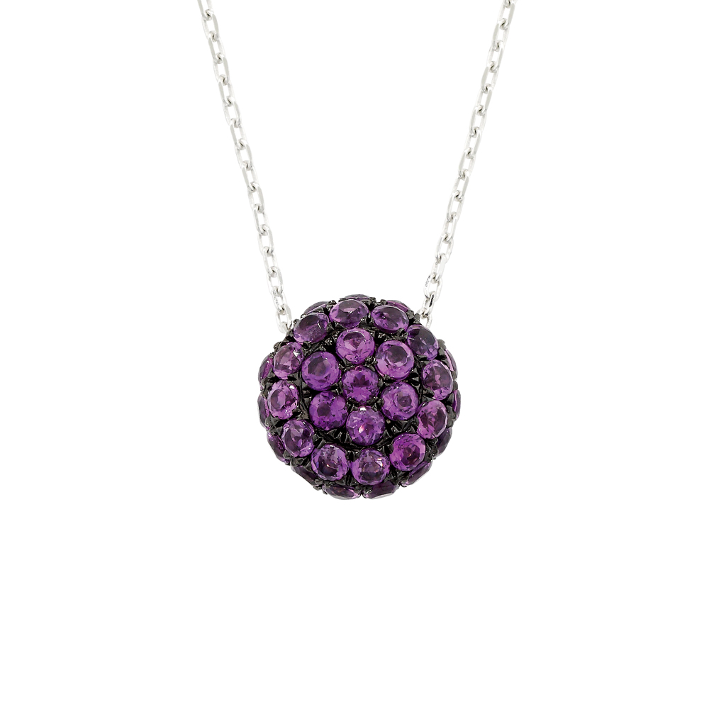 Luxury White Gold Amethyst Ball Pendant Necklace