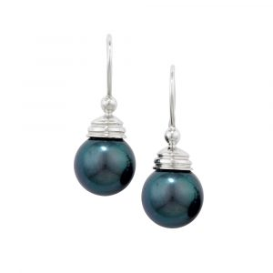 Grey cultured freshwater pearl drop earrings white gold