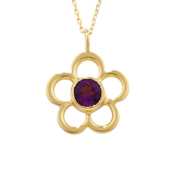Amethyst birthstone flower pendant yellow gold