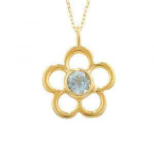 Aquamarine birthstone flower pendant yellow gold