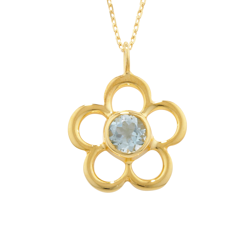 Luxury Yellow Gold Aquamarine Blossom March Birthstone Pendant Necklace