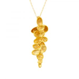 Falling leaf pendant yellow gold