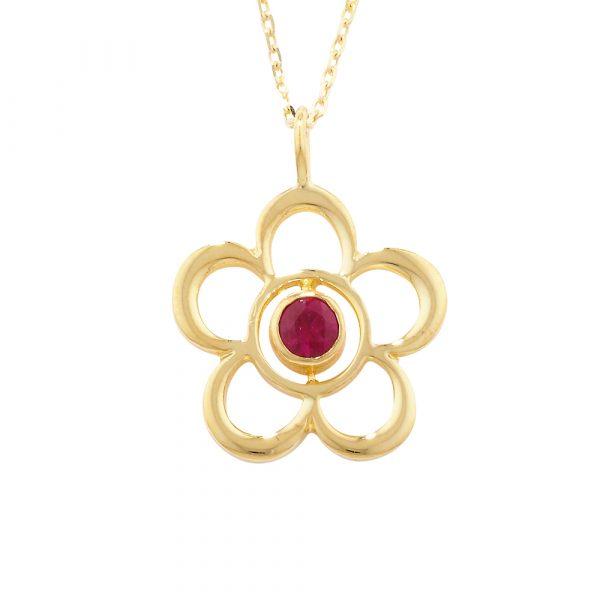 Ruby birthstone flower pendant yellow gold
