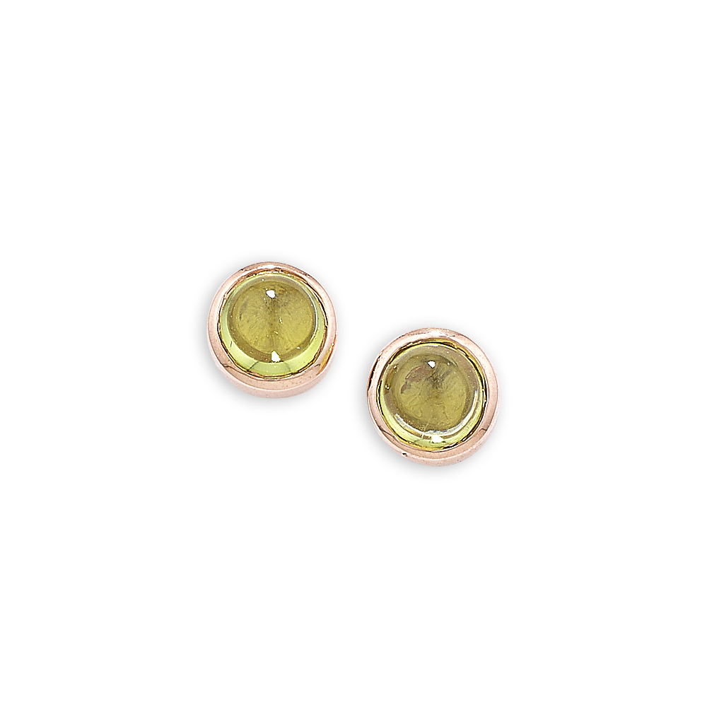 Peridot bubble stud earrings rose gold