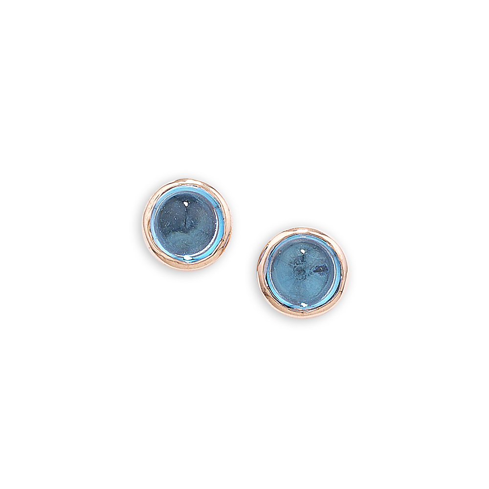 Blue topaz bubble stud earrings rose gold