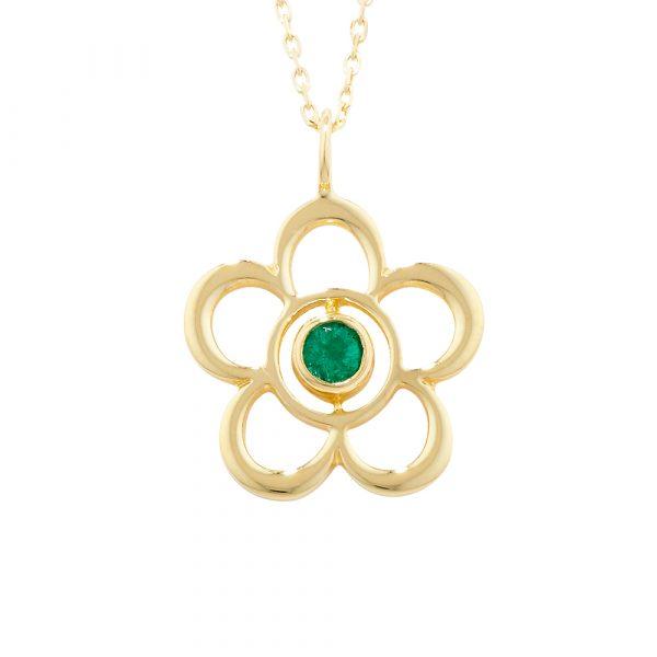 Emerald birthstone flower pendant yellow gold