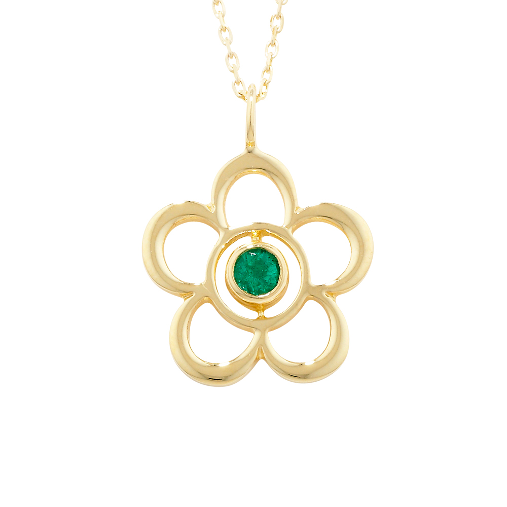 Modern Yellow Gold Emerald Blossom May Birthstone Pendant
