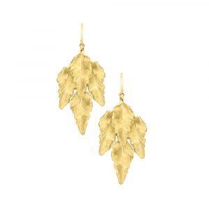 Golden leaf drop earrings yellow gold