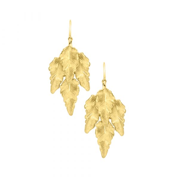Golden leaf drop earrings yellow gold