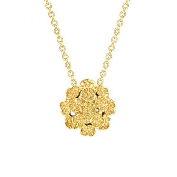 Posy cluster pendant yellow gold