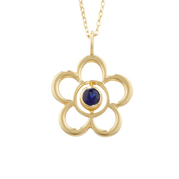 Sapphire birthstone flower pendant yellow gold