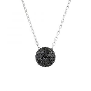 Black diamond ball cluster pendant white gold