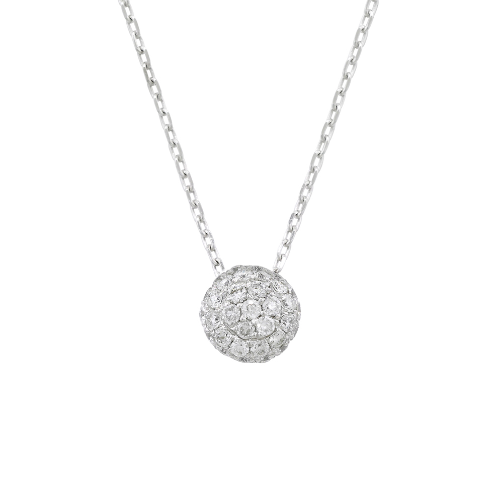 Diamond ball cluster pendant white gold