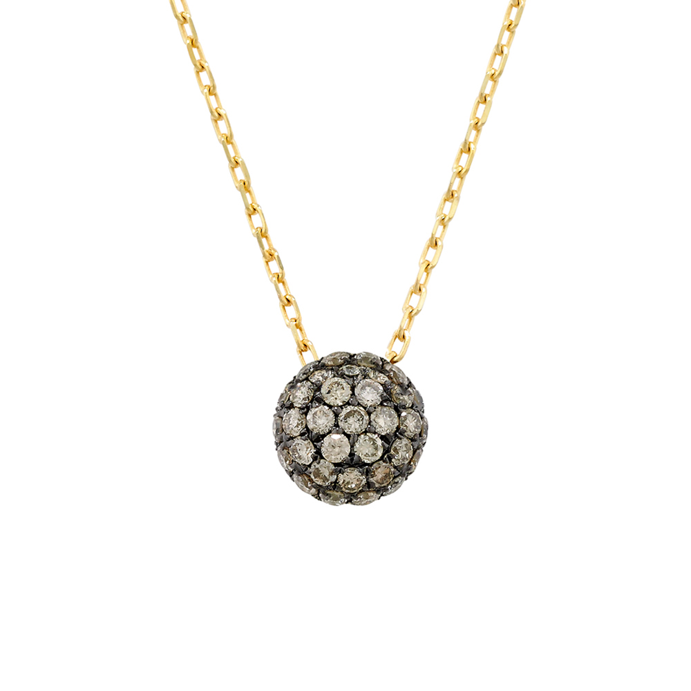 Brown diamond ball cluster pendant yellow gold