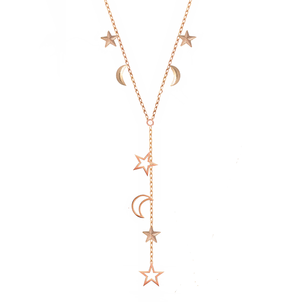 Rose gold 3D star moon necklace