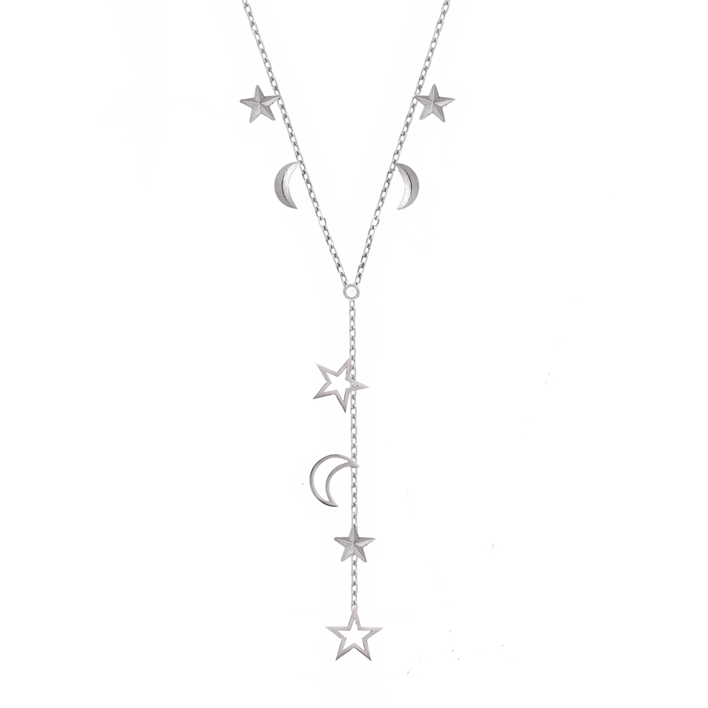 Silver 3D moon and star necklace