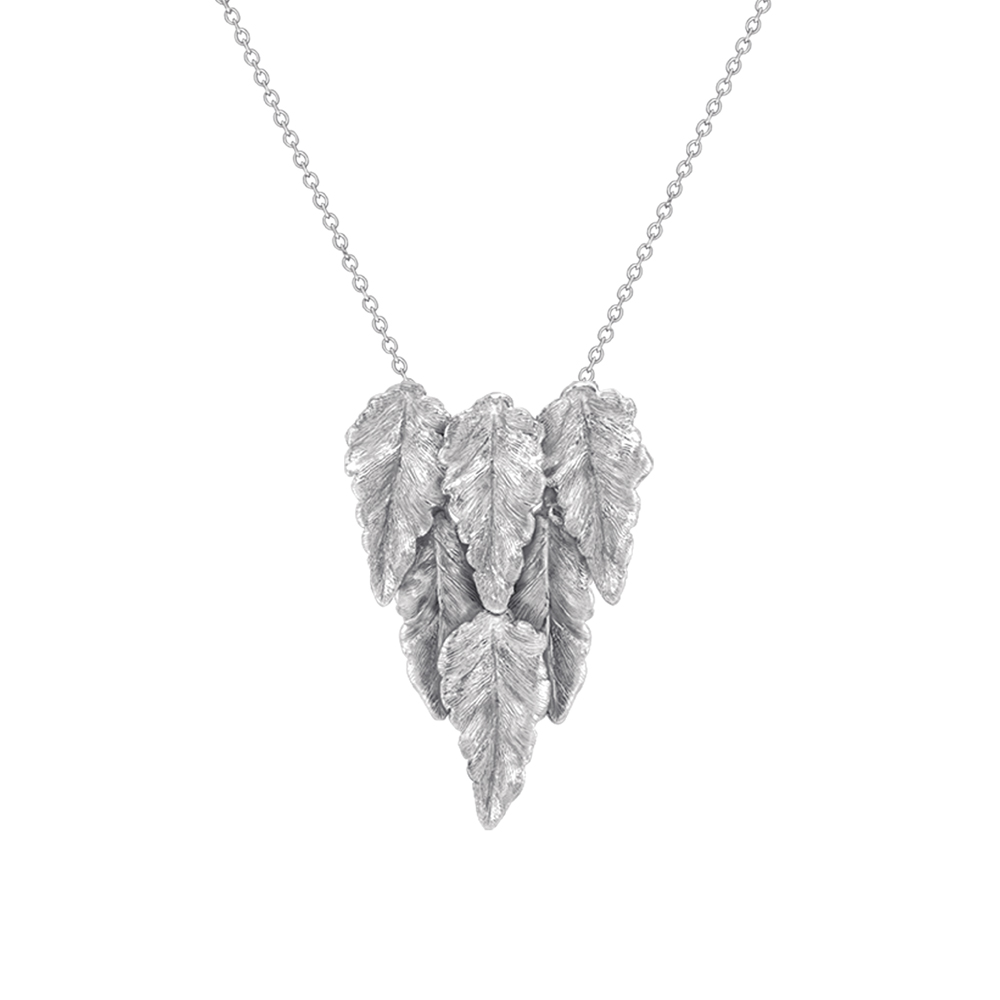Silver Kew layered leaf necklace