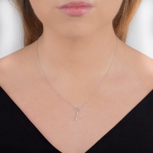 White gold diamond initial letter V pendant