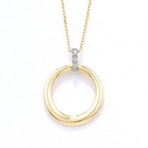 Diamond circle pendant yellow and white gold