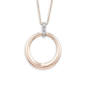 Diamond circle pendant rose and white gold