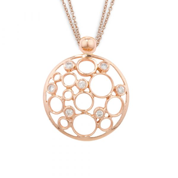 Rose gold diamond Bubble pendant