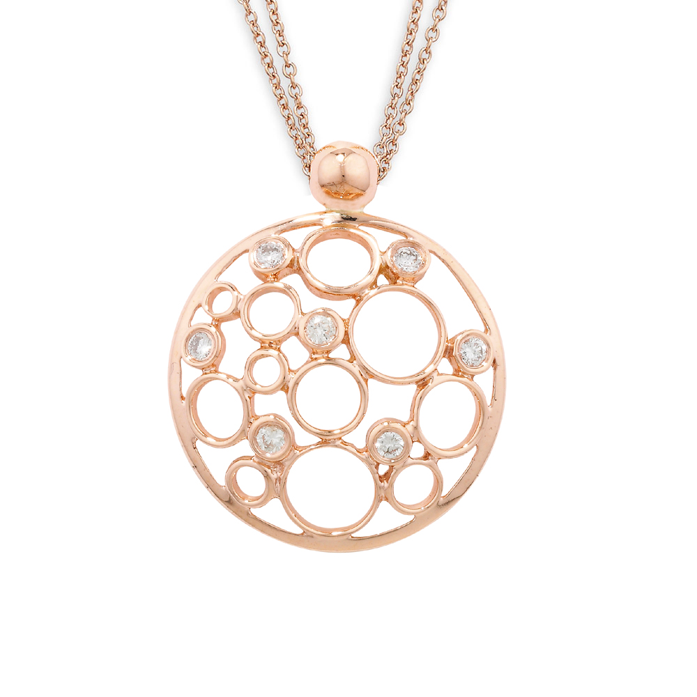 Rose Gold Bubble Diamond Pendant