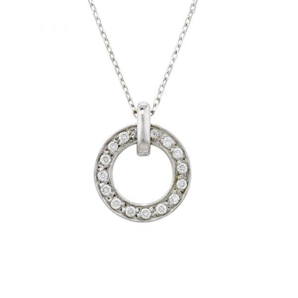 Diamond meridian pendant white gold