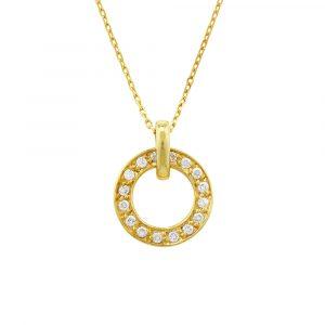 Diamond meridian pendant yellow gold