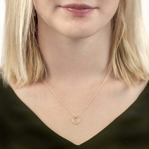 Yellow gold diamond Meridian pendant necklace