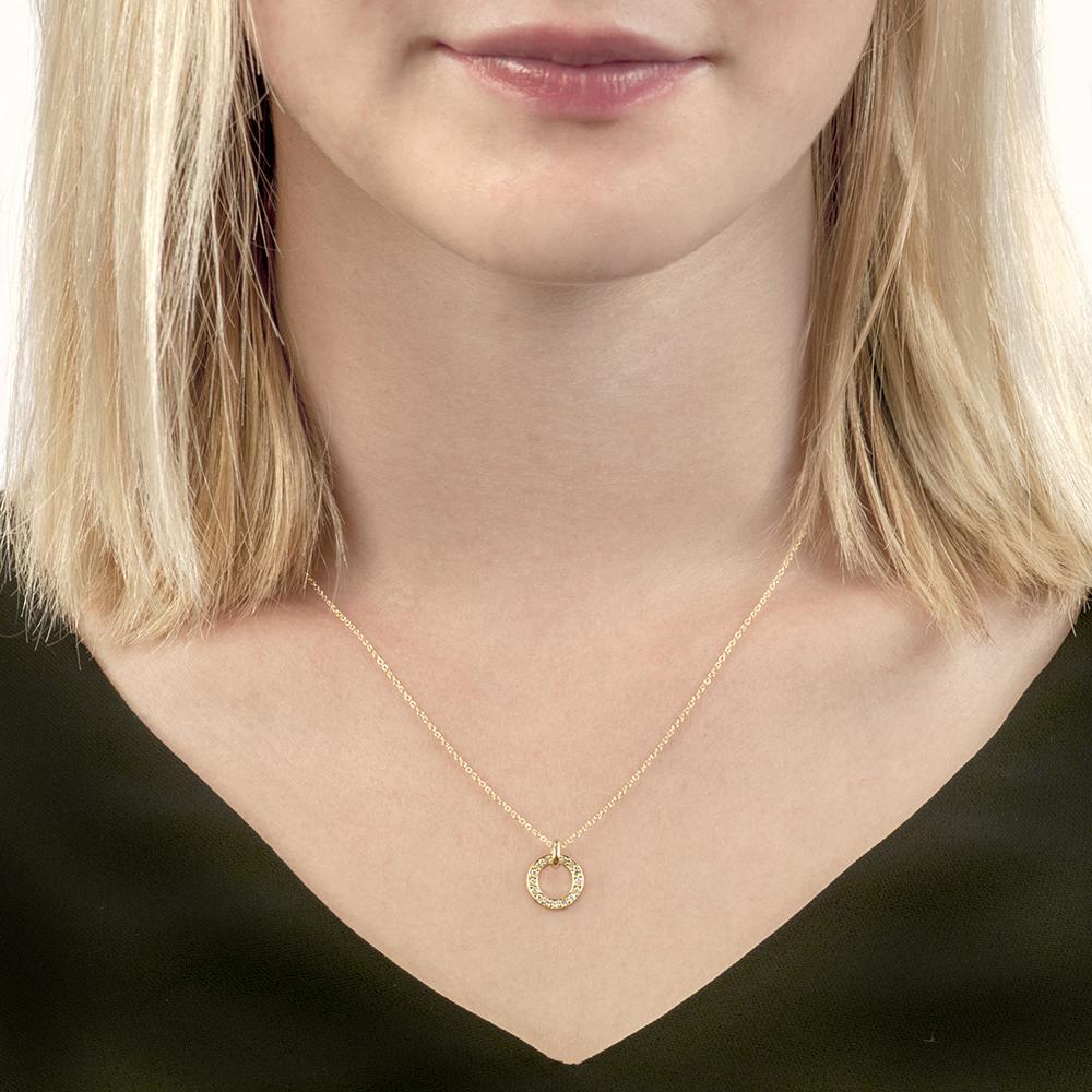 Yellow gold diamond Meridian pendant necklace