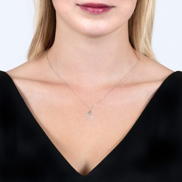 White Gold Enchanted Wishbone Diamond Pendant