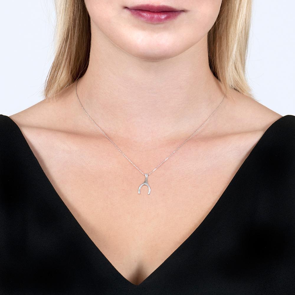 White Gold Enchanted Wishbone Diamond Pendant