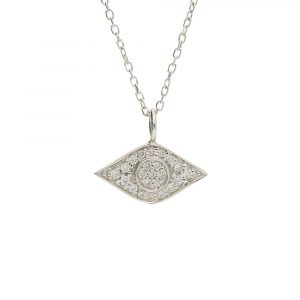 Diamond evil eye pendant white gold