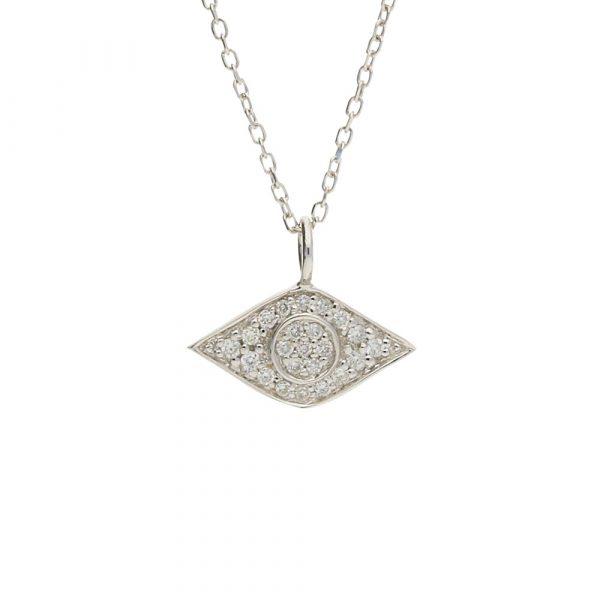 Diamond evil eye pendant white gold