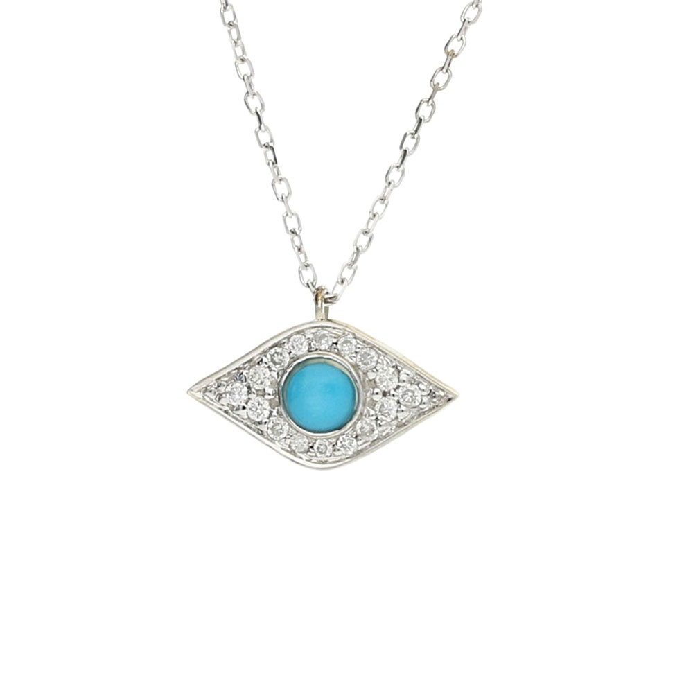 Enchanted Evil Eye White Gold Diamond and Turquoise Pendant Necklace