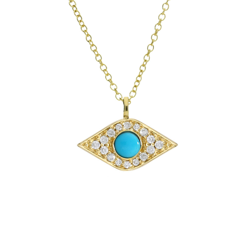 Diamond and turquoise evil eye pendant yellow gold