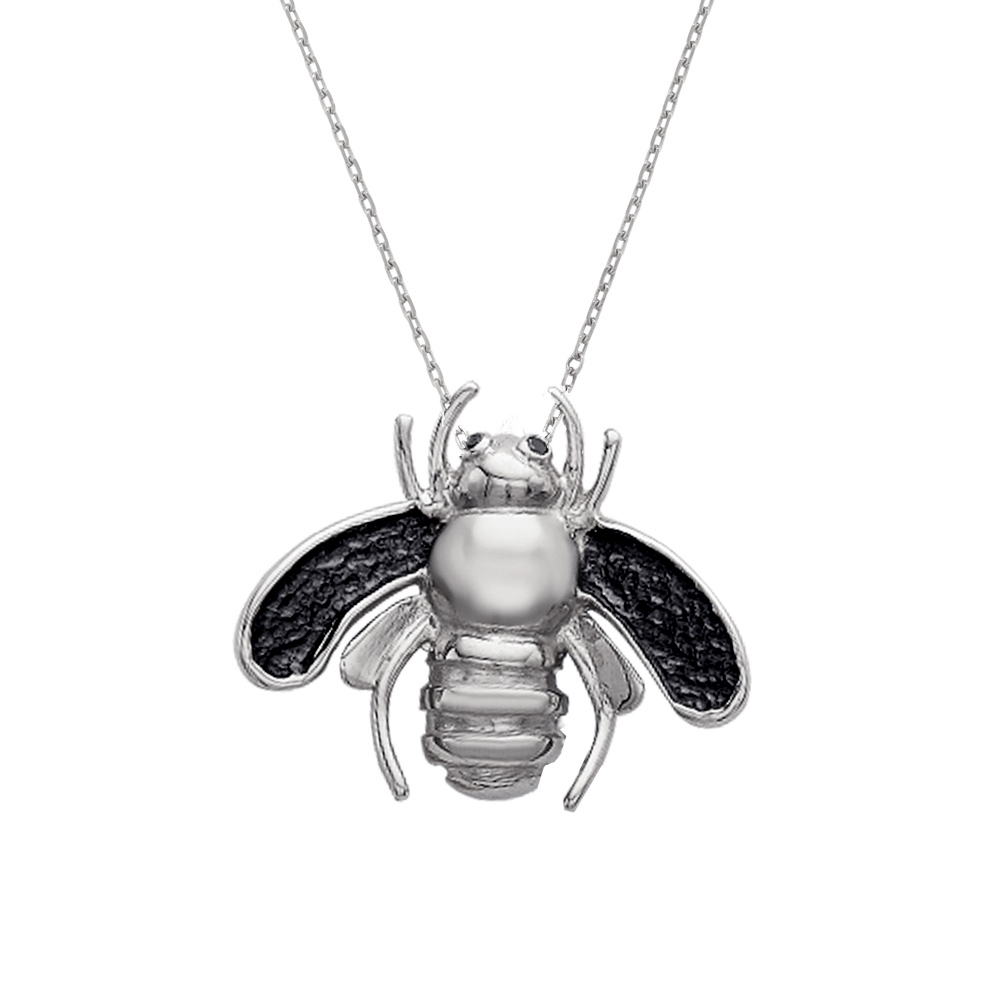 Silver black diamond bee pendant