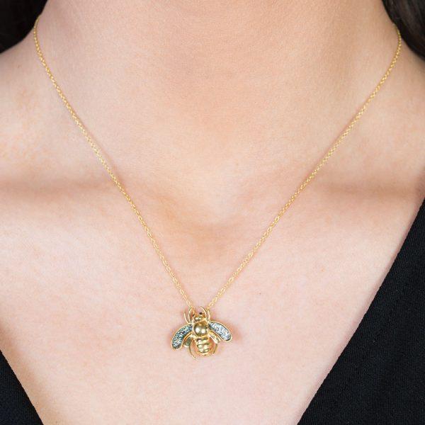 Gold Black diamond Bumble Bee Bug Pendant