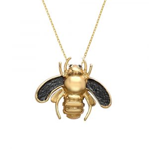 Black diamond bee pendant yellow gold