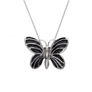 Silver black diamond butterfly bug pendant