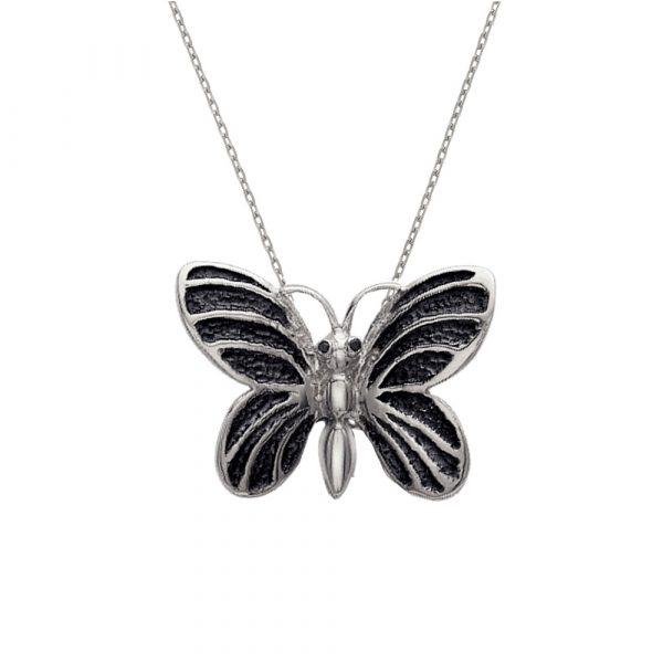 Silver black diamond butterfly bug pendant